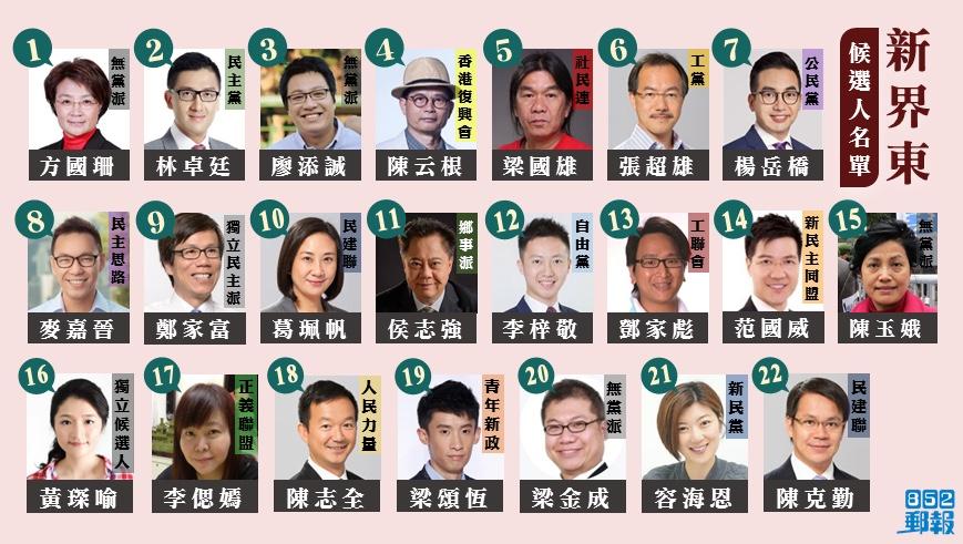 2016年立法會換屆選舉地方選區新界東獲有效提名候選人名單